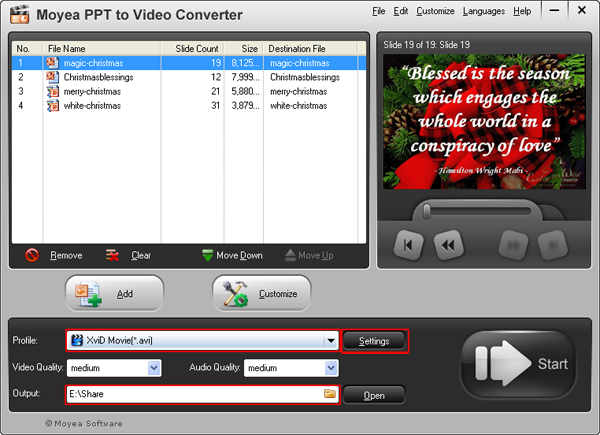 convert PowerPoint presentation to AVI video