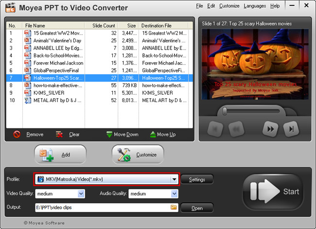 PowerPoint to MKV: Choose Video format