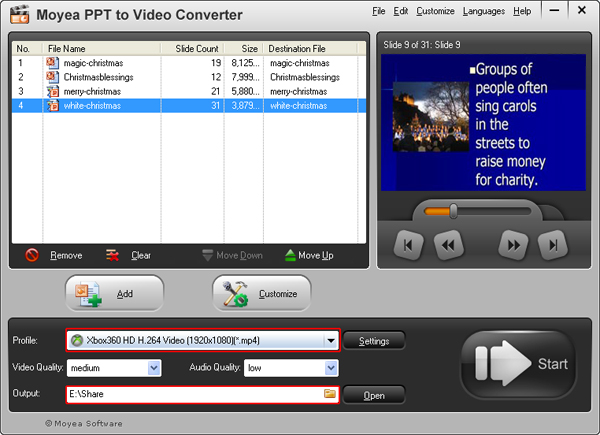 convert PowerPoint presentation to Xbox 360 video